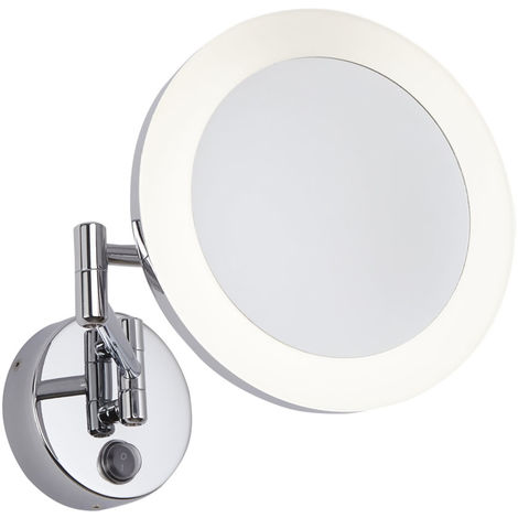 Milano Oirase - 3W LED Round Wall Mounted IP44 Bathroom Vanity Mirror - 3x Magnification & Extendable Folding Arm - Cool White