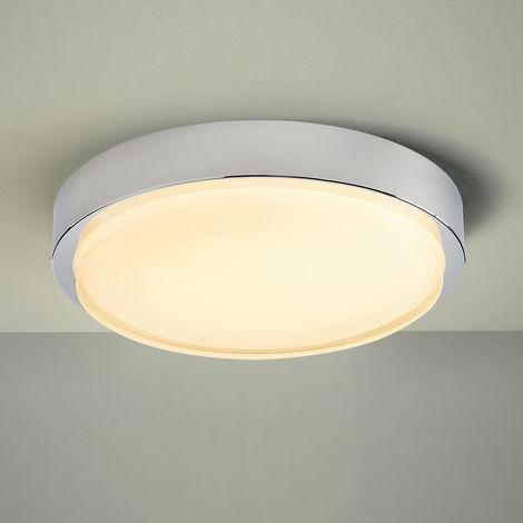 Milano Orchy 18W LED Round Chrome Bathroom Ceiling Bulkhead Light - IP44 Waterproof - Warm White (3000K)