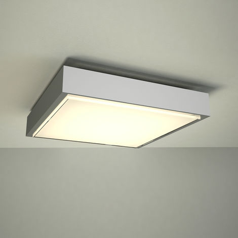 Milano Orchy 24W LED Square Chrome Bathroom Ceiling Bulkhead Light - IP44 Waterproof - Warm White (3000K)