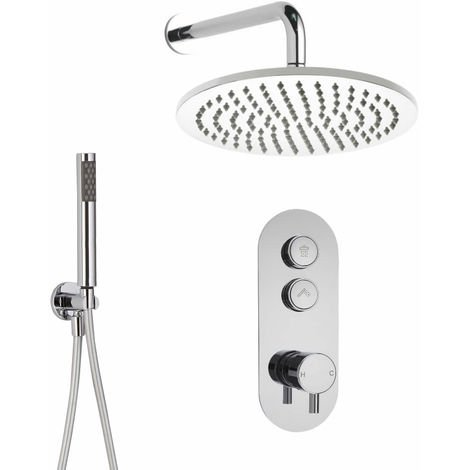 Milano Orta - Modern Two Outlet Push Button Thermostatic Shower Mixer Valve with 300mm Round Wall Mounted Rainfall Shower Head and Hand Shower Handset Kit - Chrome
