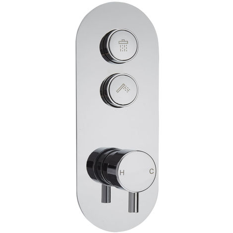 Milano Orta - Push Button Shower Valve for Two Outlets - Round Button