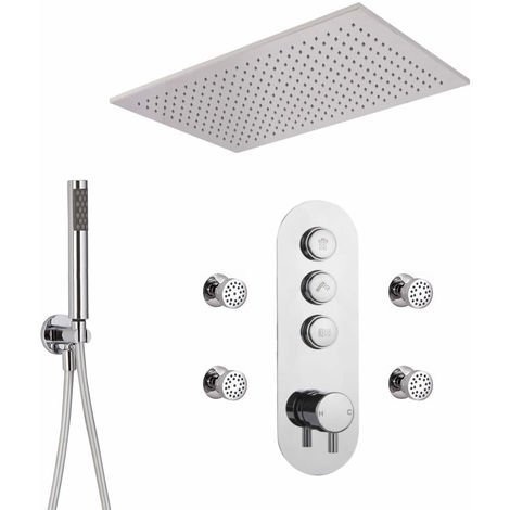 Milano Orta - Triple Outlet Push Button shower valve with hand set recessed Rainfall shower head & Jets
