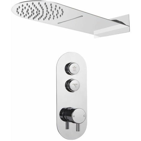 Milano Orta - Twin Outlet Push Button shower valve with hand set and Rainfall & blade shower head