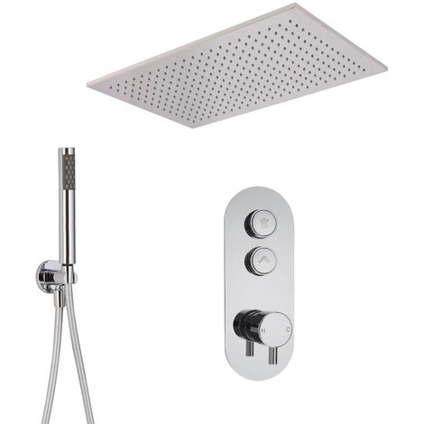 Milano Orta - Twin Outlet Push Button shower valve with hand set and recessed Rainfall shower head
