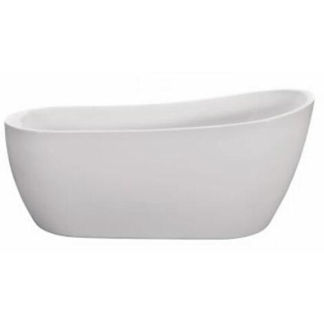 Milano Overton - Modern Freestanding Bath Tub - Oval Slipper Acrylic Bath - 1680 x 720 mm