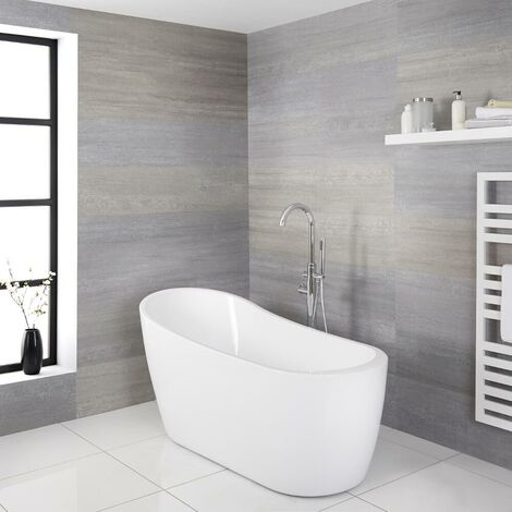 Milano Overton - Modern White Bathroom Freestanding Slipper Bath - 1665mm x 720mm