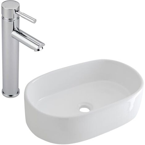 Milano Overton - Modern White Ceramic 480mm x 350mm Oval Countertop Bathroom Basin Sink and High Rise Mono Basin Mixer Tap