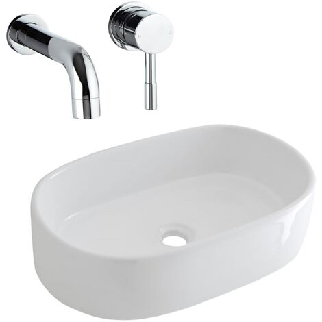 Milano Overton - Modern White Ceramic 480mm x 350mm Oval Countertop Bathroom Basin Sink and Wall Mounted Basin Mixer Tap