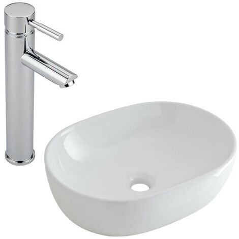 Milano Overton - Modern White Ceramic 590mm x 410mm Oval Countertop Bathroom Basin Sink and High Rise Mono Basin Mixer Tap