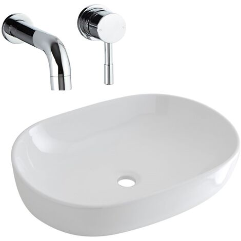 Milano Overton - Modern White Ceramic 590mm x 410mm Oval Countertop Bathroom Basin Sink and Wall Mounted Basin Mixer Tap