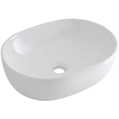 Milano Overton - Modern White Ceramic Oval Countertop Bathroom Basin Sink – 480mm x 350mm
