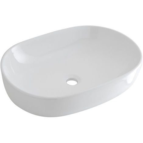 Milano Overton - Modern White Ceramic Oval Countertop Bathroom Basin Sink – 590mm x 410mm
