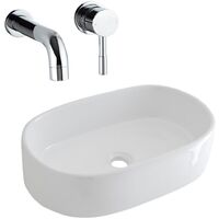 Milano Overton - Oval Counter Top White Ceramic Basin with Mirage Wall-Mounted Sink Tap