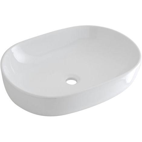Milano Overton Oval White Ceramic Counter Top Basin - 590 x 410 mm