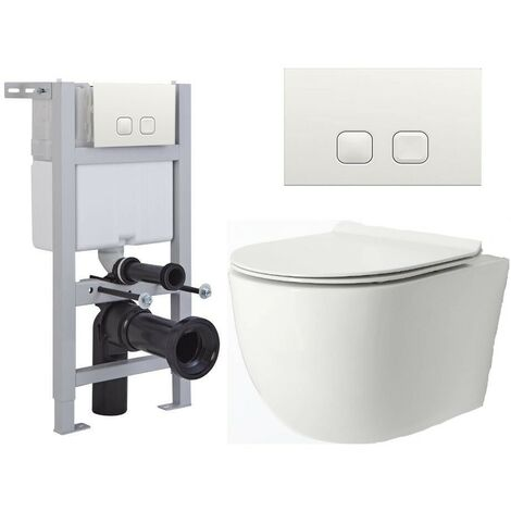 Milano Overton - White Ceramic Modern Bathroom Wall Hung Rimless Toilet with Short Wall Frame  Cistern and Flush Plate