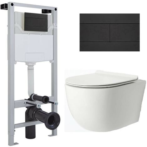 Milano Overton - White Ceramic Modern Bathroom Wall Hung Rimless Toilet with Tall Wall Frame  Cistern and Flush Plate
