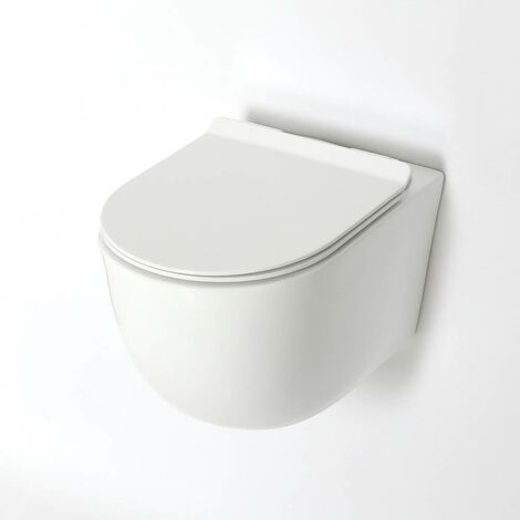 Milano Overton - White Ceramic Modern Bathroom Wall Hung Round Rimless Toilet WC with Soft Close Seat