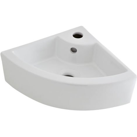 Milano Overton White Ceramic Wall Hung Counter Top Basin - 555 x 395 mm