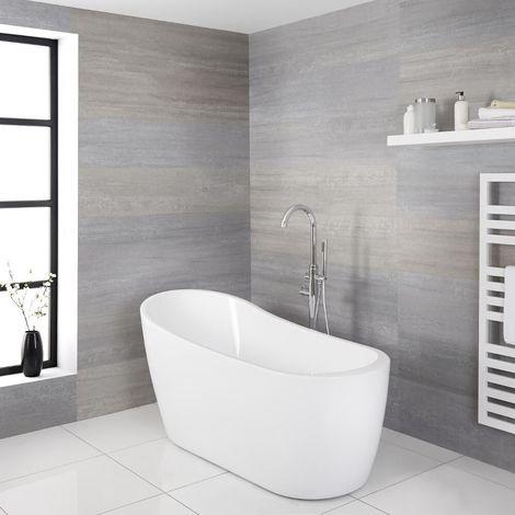 Milano Overton - White Modern Bathroom Freestanding Slipper Bath - 1680mm x 720mm
