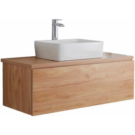 Milano Oxley - Golden Oak 1000mm Wall Hung Bathroom Vanity Unit with Countertop Basin & LED Option