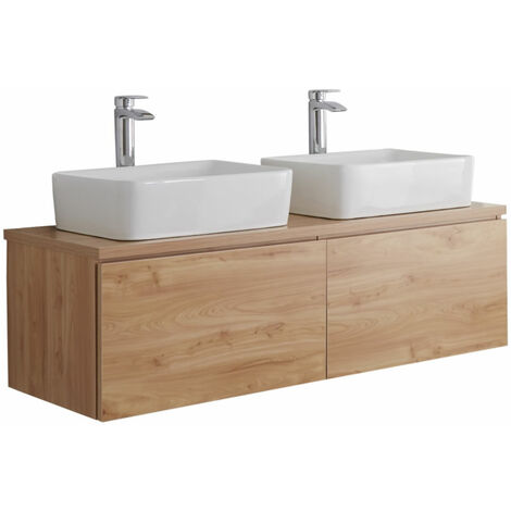 Milano Oxley - Golden Oak 1200mm Wall Hung Bathroom Vanity Unit with 2 Countertop Basins & LED Option