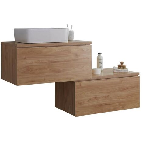 Milano Oxley - Golden Oak 1397mm Wall Hung Stepped Bathroom Vanity Unit with Countertop Basin & LED Option