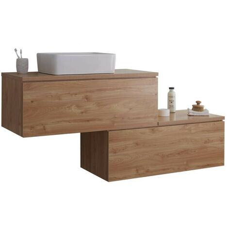 Milano Oxley - Golden Oak 1597mm Wall Hung Stepped Bathroom Vanity Unit with Countertop Basin & LED Option