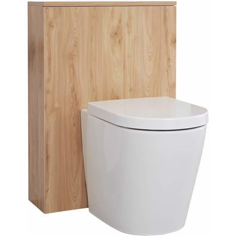 Milano Oxley - Golden Oak 600mm Bathroom Toilet WC Unit with Back to Wall Pan, Seat and Cistern