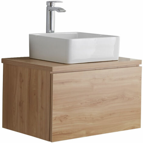 Milano Oxley - Golden Oak 600mm Wall Hung Bathroom Vanity Unit with Square Countertop Basin & LED Option