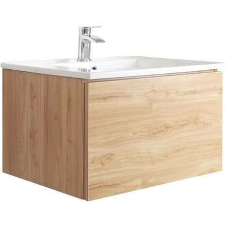 Milano Oxley - Golden Oak 610mm Wall Hung Bathroom Vanity Unit with Basin & LED Option