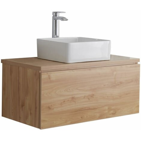 Milano Oxley - Golden Oak 800mm Wall Hung Bathroom Vanity Unit with Countertop Basin & LED Option