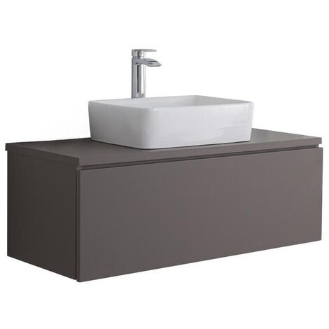 Milano Oxley - Grey 1000mm Wall Hung Bathroom Vanity Unit with Countertop Basin & LED Option