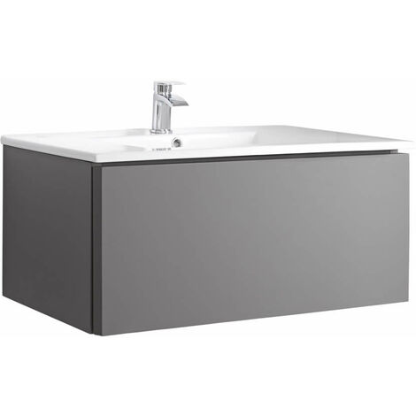 Milano Oxley - Grey 1010mm Wall Hung Bathroom Vanity Unit with Basin & LED Option