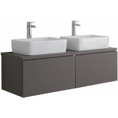 Milano Oxley - Grey 1200mm Wall Hung Bathroom Vanity Unit with 2 Countertop Basins & LED Option