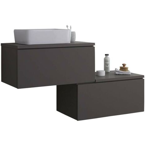 Milano Oxley - Grey 1397mm Wall Hung Stepped Bathroom Vanity Unit with Countertop Basin & LED Option