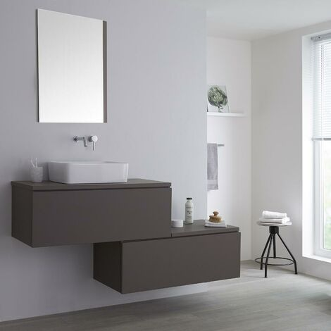 Milano Oxley - Grey 1597mm Wall Hung Stepped Bathroom Vanity Unit with Countertop Basin & LED Option