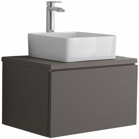 Milano Oxley - Grey 600mm Wall Hung Bathroom Vanity Unit with Square Countertop Basin & LED Option