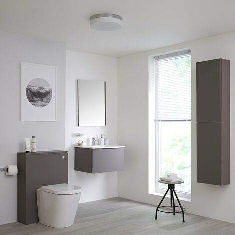 Milano Oxley - Grey 610mm Bathroom Furniture Set with Vanity Unit  Toilet WC Unit  Storage Unit and Mirror & LED Option