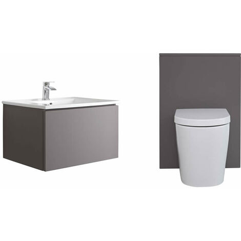 Milano Oxley - Grey 610mm Bathroom Vanity Unit with Basin  Toilet WC Unit and Back to Wall Pan & LED Option
