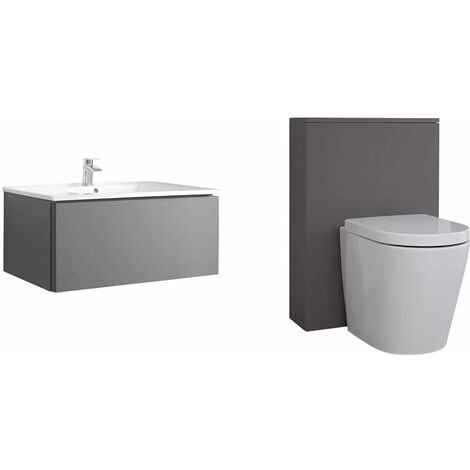 Milano Oxley - Grey 800mm Bathroom Vanity Unit with Basin  Toilet WC Unit and Back to Wall Pan & LED Option
