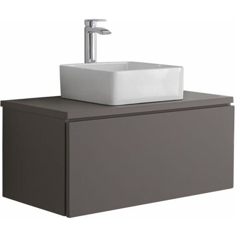 Milano Oxley - Grey 800mm Wall Hung Bathroom Vanity Unit with Countertop Basin & LED Option