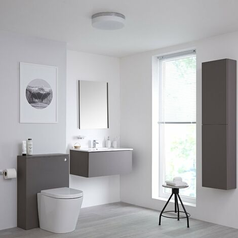 Milano Oxley - Grey 810mm Bathroom Furniture Set with Vanity Unit  Toilet WC Unit  Storage Unit and Mirror & LED Option