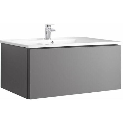 Milano Oxley - Grey 810mm Wall Hung Bathroom Vanity Unit with Basin & LED Option