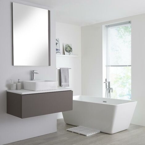 Milano Oxley - Grey and White 1000mm Wall Hung Bathroom Vanity Unit with Countertop Basin & LED Option