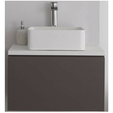 Milano Oxley - Grey and White 600mm Wall Hung Bathroom Vanity Unit with Countertop Basin & LED Option