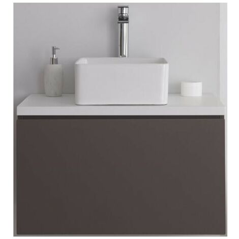 Milano Oxley - Grey and White 800mm Wall Hung Bathroom Vanity Unit with Countertop Basin & LED Option