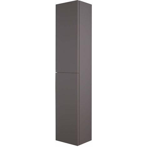 Milano Oxley - Grey Wall Hung Closed Tall Bathroom Storage Unit - 350mm x 1500mm