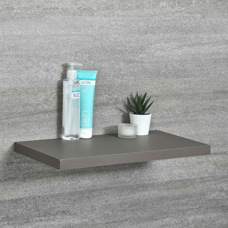 Milano Oxley - Modern Grey Wall Mounted Bathroom Floating Shelf - 450mm x 250mm