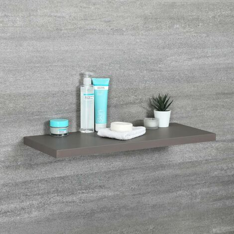 Milano Oxley - Modern Grey Wall Mounted Bathroom Floating Shelf - 600mm x 250mm