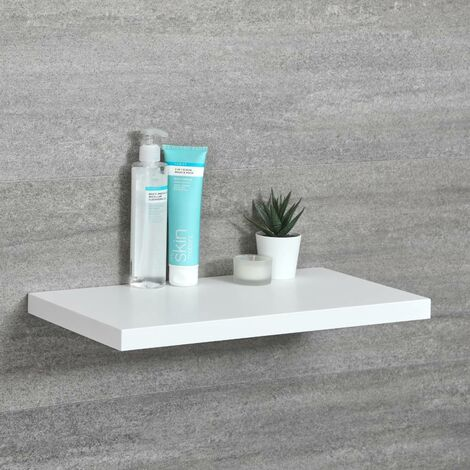 Milano Oxley - Modern White Wall Mounted Bathroom Floating Shelf - 450mm x 250mm
